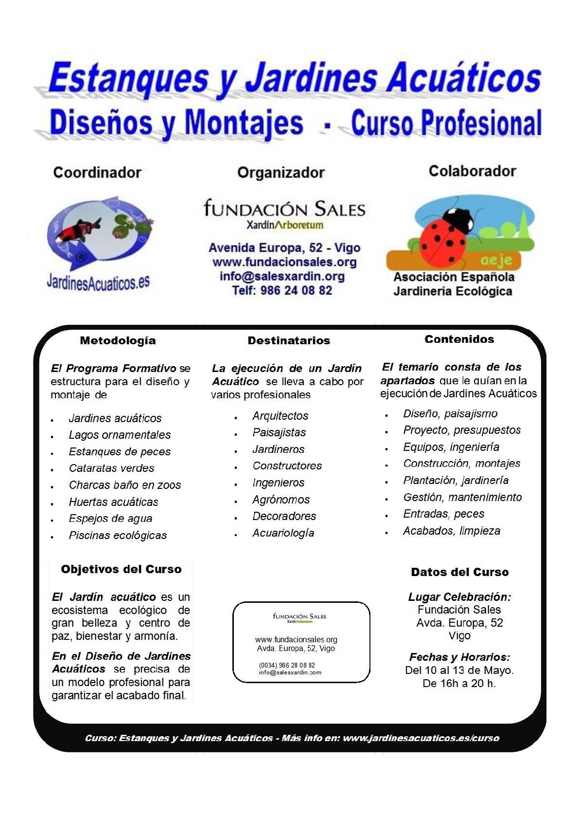 Curso Técnico Profesional de Estanques y Jardines Acuáticos en la Fundación Sales